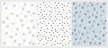 Fije de 3 modelos exhaustos del vector de las estrellas de la mano abstracta Diseño inconsútil simple ilustración del vector