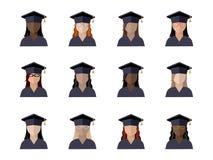fije de muchacha de los estudiantes en un casquillo graduado de diversos razas, nacionalidades y colores de piel stock de ilustración