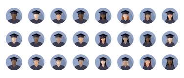 Fije de muchachos y de muchachas de los estudiantes en un casquillo graduado de diversos razas, nacionalidades y colores de piel, ilustración del vector