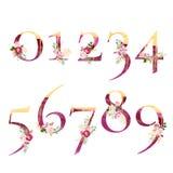 Fije de números con las flores de las hojas de la acuarela y los elementos de oro stock de ilustración