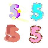 fije de números festivos de los fives con las flores y las estrellas libre illustration