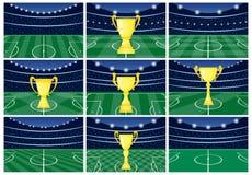 Fije de nueve estadios de fútbol con una taza de oro en hierba verde libre illustration