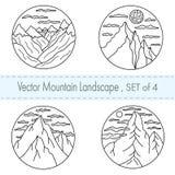 Fije de 4 paisajes blancos y negros exhaustos de los ejemplos de la mano con las siluetas de montañas y de nubes stock de ilustración