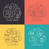 Fije de paisajes lineares del vector Elementos del diseño del logotipo del círculo fotografía de archivo libre de regalías