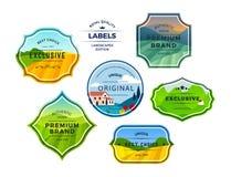 Fije de paisajes de los campos de granja en etiquetas del inconformista con los marcos Cortijo rural en campos de hierbas con las ilustración del vector
