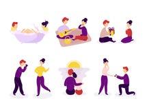 Fije de pares en el amor que pasa el tiempo junto libre illustration