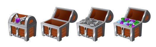 Fije de pechos de plata de madera con las monedas y de diamantes para el juego UI ilustración del vector