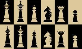 Fije de pedazos de ajedrez en los campos del tablero de ajedrez, pedazo blanco en campo negro, pedazo negro en el campo blanco stock de ilustración