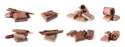 Fije de pedazos y de rizos deliciosos del chocolate fotografía de archivo libre de regalías