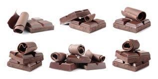 Fije de pedazos y de rizos deliciosos del chocolate imagen de archivo