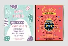 Fije de plantilla de la invitación de la caza del huevo de Pascua libre illustration