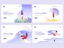 Fije de plantillas de aterrizaje de la página Gente que hace los deportes, activando, baloncesto, patinando, snowboard Ejemplo de stock de ilustración