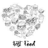 Fije de productos deliciosos y jugosos de los alimentos de preparación rápida ejemplo del bosquejo de la comida y de los cafés de ilustración del vector