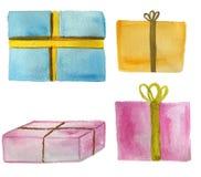 Fije de regalos en un fondo blanco Ilustraci?n de la acuarela libre illustration
