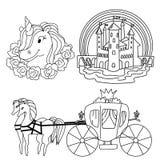 Fije de símbolos y de objetos del cuento de hadas Página que colorea aislada del vector libre illustration