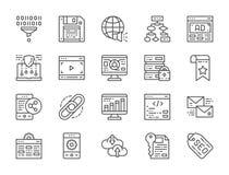Fije de SEO y de la línea iconos del márketing Recibimiento, señal, enlace hipertexto y más stock de ilustración