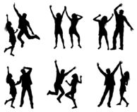 Fije de siluetas de baile de los pares ilustración del vector