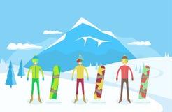 Fije de snowboarders con la snowboard en el fondo de las montañas del invierno ilustración del vector