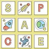 Fije de tarjeta con el icono del espacio stock de ilustración