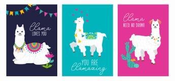 Fije de tarjeta linda con alpacas Carteles inspirados de las llamas con diseño colorido y citas inspiradas La llama le ama No stock de ilustración