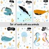 Fije de tarjetas con los animales de mar - ejemplo del vector, EPS foto de archivo