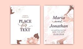 Fije de tarjetas elegantes con rosa, ruborícese las peonías Textura blanca y color de rosa del mármol del oro La boda, ahorra el  stock de ilustración
