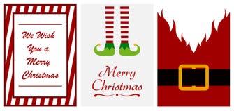 Fije de tarjetas de felicitación de la Feliz Navidad en el fondo blanco stock de ilustración