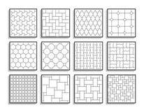 Fije de texturas inconsútiles del pavimento Baldosas blancos y negros ilustración del vector