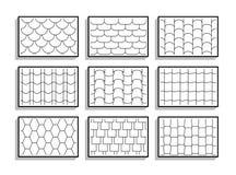 Fije de texturas inconsútiles de las tejas de tejado Palmadita gráfica blanco y negro ilustración del vector