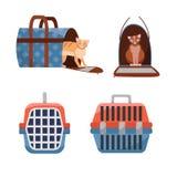 Fije de transportador de dos posiciones y del bolso plásticos manuales de la tela que llevan para los gatos en el fondo blanco Vi libre illustration