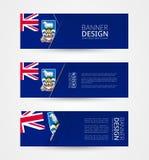 Fije de tres banderas horizontales con la bandera de Falkland Islands Plantilla del diseño de la bandera de la web en el color de stock de ilustración