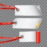 Fije de tres etiquetas o etiquetas en blanco decorativas realistas en secuencia de la cinta en fondo transparente stock de ilustración