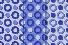 Fije de tres modelos inconsútiles con con los anillos y de círculos que echan sombras Ejemplo colorido, eps10 ilustración del vector
