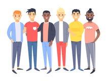 Fije de un grupo de diversos hombres Caracteres del estilo de la historieta de diversas razas Caucásico, asiático y africano del  ilustración del vector