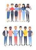 Fije de un grupo de diversos hombres y mujeres Caracteres del estilo de la historieta de diversas razas, g?nero Cauc?sico del eje stock de ilustración