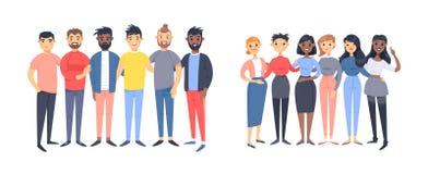 Fije de un grupo de diversos hombres y mujeres Caracteres del estilo de la historieta de diversas razas, g?nero Cauc?sico del eje libre illustration