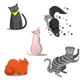 Fije de varios gatos de diversas razas Gatos divertidos juguetones en el estilo de historietas Animales lindos del kawai Esfinge, stock de ilustración