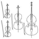Fije de vector arqueó los instrumentos musicales atados dibujados por las líneas fotografía de archivo