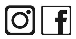 Fije de vector social popular del elemento de Instagram Facebook de los iconos de los logotipos de los medios en el fondo blanco ilustración del vector