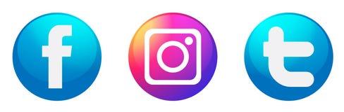 Fije de vector social popular del elemento de Instagram Facebook Twitter de los iconos de los logotipos de los medios en el fondo ilustración del vector