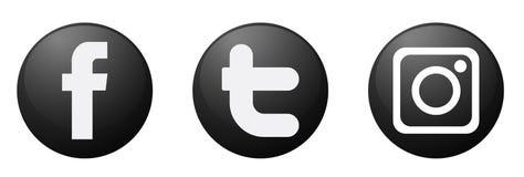 Fije de vector social popular del elemento de Instagram Facebook Twitter de los iconos de los logotipos de los medios en el fondo stock de ilustración