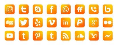Fije de vector social popular del elemento de Instagram Facebook Twitter YouTube WhatsApp de los iconos de los logotipos de los m ilustración del vector