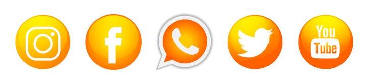 Fije de vector social popular del elemento de Instagram Facebook Twitter YouTube WhatsApp del oro de los iconos de los logotipos  ilustración del vector