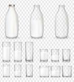 Fije de vidrios y de botellas realistas con una leche stock de ilustración