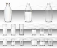 Fije de vidrios y de botellas realistas con una leche libre illustration