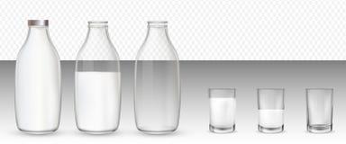 Fije de vidrios y de botellas realistas con una leche ilustración del vector