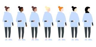 Fije de vista lateral de la raza de las mujeres diversas del vector Estilo plano moderno lindo y simple stock de ilustración