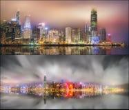 Fije de vistas de Hong Kong y del distrito financiero Imagen de archivo