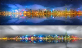 Fije de vistas de Hong Kong y del distrito financiero Fotografía de archivo