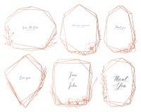 Fije del bastidor geométrico, flores exhaustas de la mano, composición botánica, elemento decorativo para la invitación de boda,  stock de ilustración